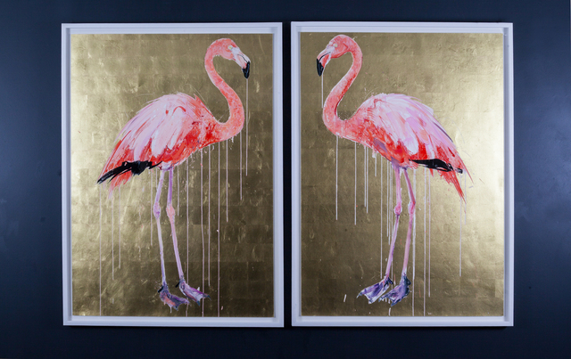 Dave White, 'Flamingo I & II', 2019, Print, Silkscreens, varnishes and gold leaf background. framed to conservation standard. Priced individually or as a pair, The Drang Gallery