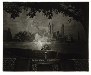 New York skyline in a lobby, NYC