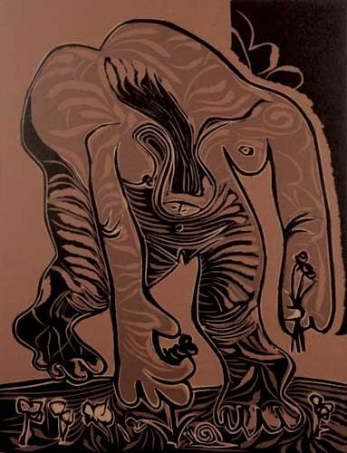 Pablo Picasso, 'Femme Nue Ceullant des Fleurs', 1962, Print, Linocut on velin d'Arches paper, Andipa