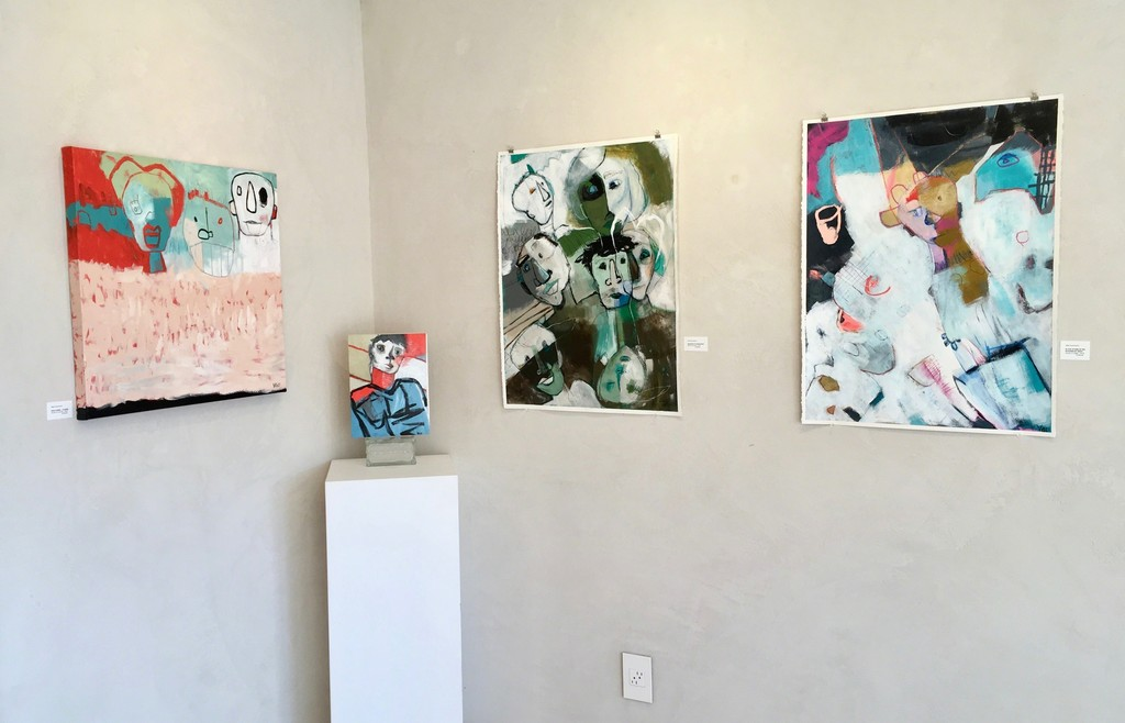 """More artworks by artist Vikki Drummond, from the Series """"Little People in my Head"""" The paperworks are 30""""Hx22""""W. The canvases are 24""""x24"""" and 12""""Hx9W""""."""