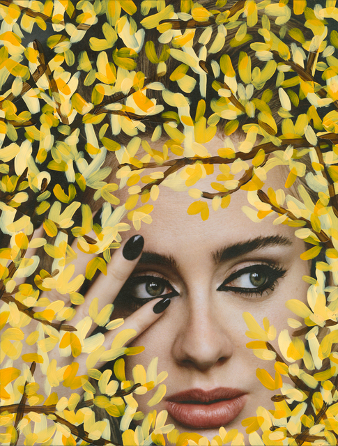Michael De Feo, ''Untitled' (Adele by Alasdair McLellan for  i-D, Winter 2015, Yellow)', Painting, Acrylic on Magazine Page, Float-mount Framed with Museum Glass, The Garage Amsterdam
