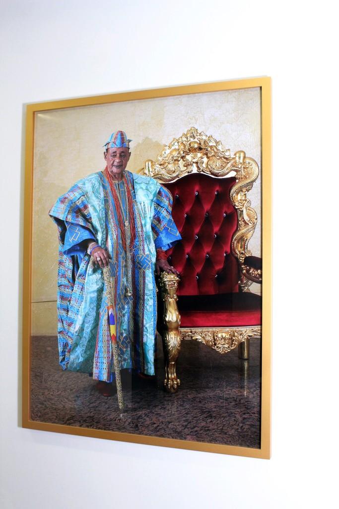 Installation shot - His Imperial Majesty Iku Baba Yeye Oba Lamidi Olayiwola Adeyemi III The Alaafin of Oyo Empire (2017) by George Osodi at the show George Osodi | Royalty