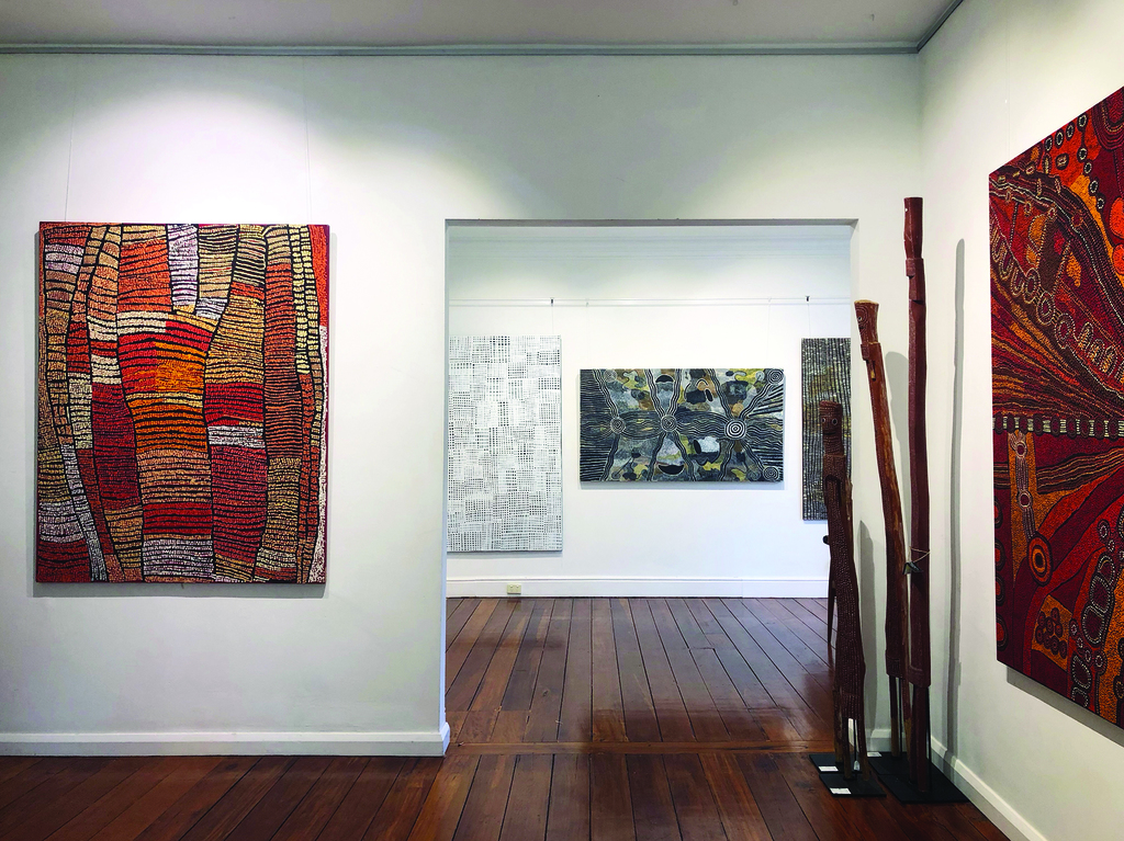 Cooee Art is Australia's oldest exhibiting Indigenous art gallery. Since first working with Aboriginal artists in 1981, it has presented the finest Australian Aboriginal art through exhibitions and events in Australia, Europe and the Americas. With more that 3000 works of art by over 150 individual artists its extensive stockroom encompasses a wide range of regional and individual styles.