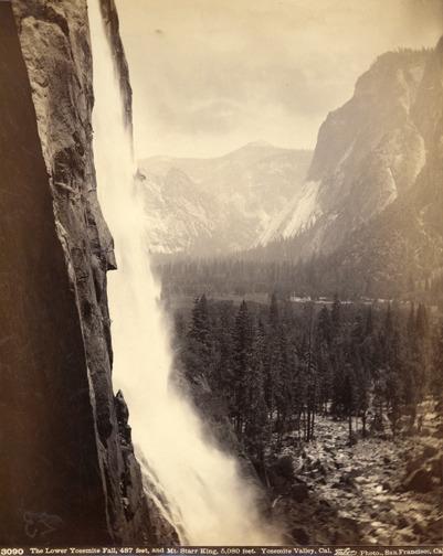 , 'The Lower Yosemite Fall 487 feet and Mt. Starr King 5,080 feet, Yosemite Valley, California,' 1880s, Scott Nichols Gallery