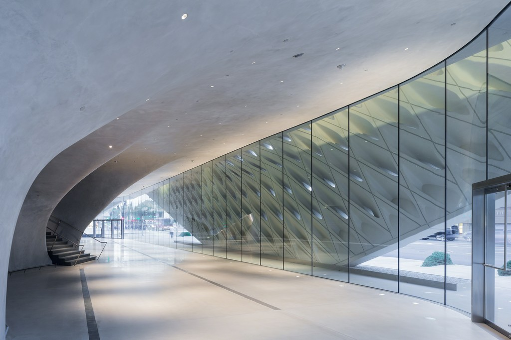The Broad museum's lobby with interior veil; photo by Iwan Baan, courtesy of The Broad and Diller Scofidio + Renfro