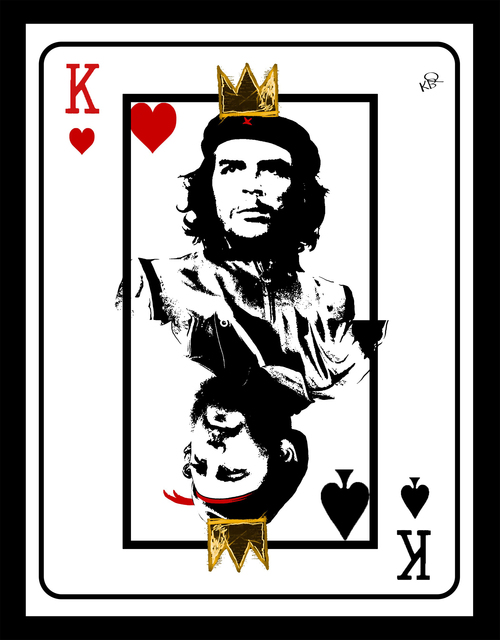 Karen Bystedt, 'Fidel/Che Playing Card in Gold Leaf & Diamond Dust on Archival Paper', 2019, Print, Mixed Media on Hahnemuehle Paper, White Cross