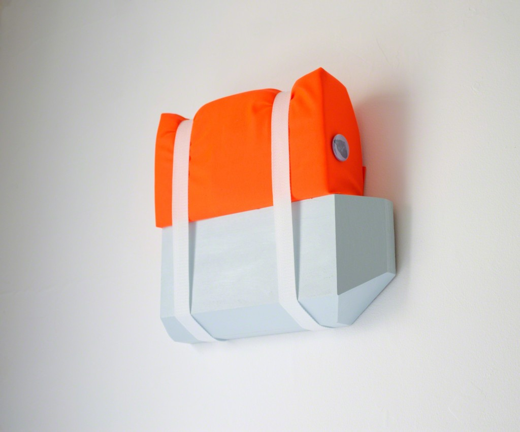 """Save Me Not."" by Matthew Usinowicz, 2016, acrylic on poplar block, safety orange fabric, foam, nylon straps, custom button, 12 x 16 x 4 in"