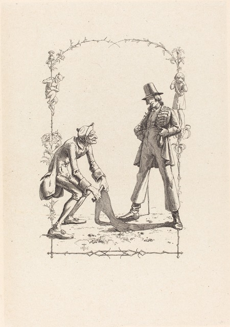 Adolf Schrödter, 'Peter Schlemihl Sells His Shadow', 1836, Print, Etching on chine collé, National Gallery of Art, Washington, D.C.