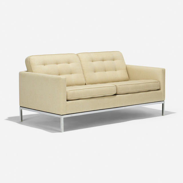 Florence Knoll, 'settee', 1955/1965, Design/Decorative Art, Upholstery, chrome-plated steel, Rago/Wright
