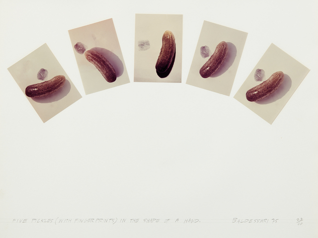 John Baldessari, 'Five Pickles (With Fingerprints in the Shape of a Hand), from Artists & Photographers', 1975, Phillips