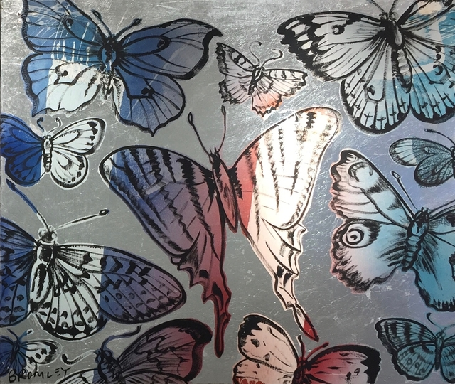 David Bromley, 'Butterflies pink and blue on silver leafing ', 2019, Gallery One Australia
