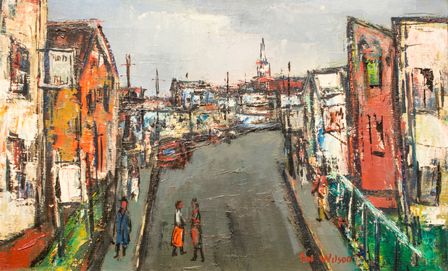 Sol Wilson, 'Street with Sign', n.d., Painting, Oil on canvas, Berta Walker Gallery