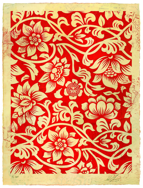 Shepard Fairey (OBEY), 'Floral Takeover (Cream/Red)', 2017, Underdogs Gallery