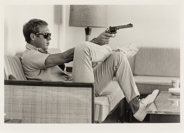 John Dominis, 'Steve Mcqueen Aims a Pistol in His Living Room, CA (printed 2014)', 1963, Hindman