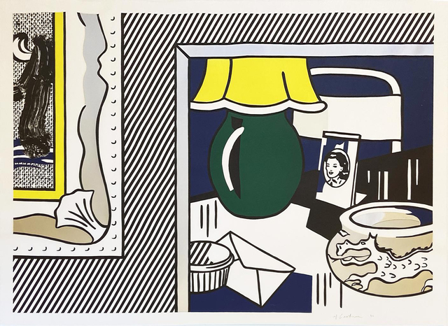 Roy Lichtenstein, 'Two Paintings: Green Lamp from the Paintings series', 1984, Print, Woodcut, lithograph, screenprint, and collage on Arches 88 paper, Hamilton-Selway Fine Art