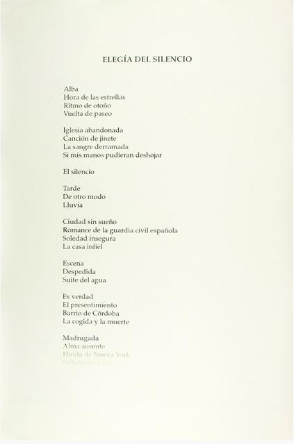 , 'Índice (García Lorca),' 2014, Travesia Cuatro