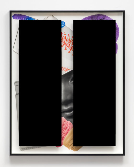 , 'Black Bars: Déjeuner No. 16 (Girl with Chinese Take-Out, Gummy Worm, Towel, Lotion and Macaroons),' 2017, KÖNIG GALERIE