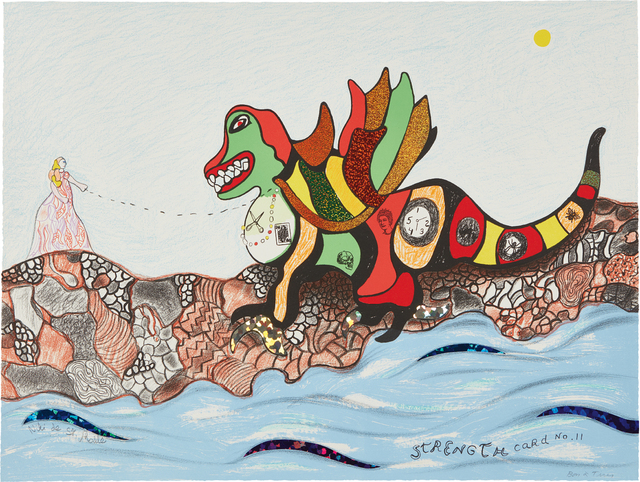 Niki de Saint Phalle, 'Strength Card No. 11, from Tarot Cards', 1998, Print, Lithograph with glitter stickers in color, on wove paper, the full sheet, Phillips