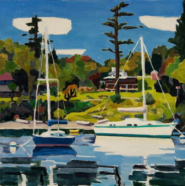 , '2 Boats in Friday Harnor,' 2018, WaterWorks Gallery