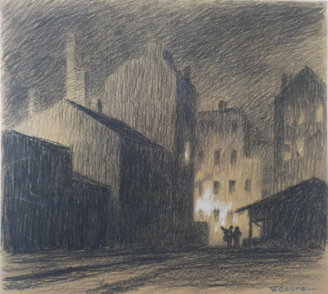 Willy Oertel, 'Nachts in der Stadt / Night in the City', ca. 1912, Drawing, Collage or other Work on Paper, Charcoal with white heightening on brown paper, Sylvan Cole Gallery