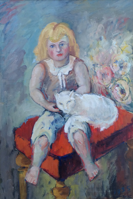 Hans Burkhardt, 'Girl with Cat', 1935, Caldwell Gallery Hudson