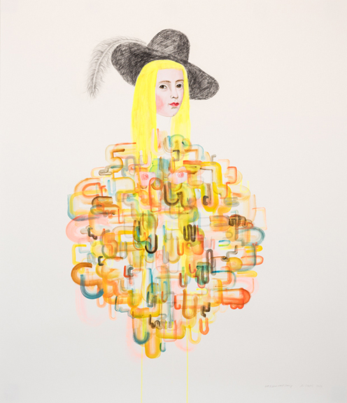 , 'Hat and Neon Hair Drawing ,' 2018, David Lusk Gallery