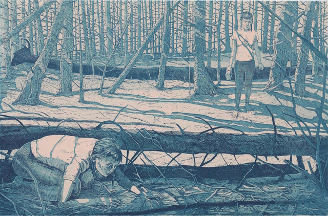 Tyler Bright Hilton, 'Later, she was lost. Of course she was lost. Why wouldn't she be lost? The woods were horrible. Group of seven my ass.', 2018, Drawing, Collage or other Work on Paper, Etching with aquatint, VIVIANEART
