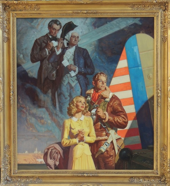 Dean Cornwell, 'Parachuter with Abraham Lincoln and George Washington', 1940, Painting, Oil on Canvas, The Illustrated Gallery