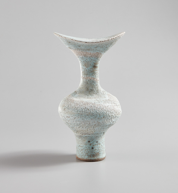Lucie Rie, 'Tall vase with flaring lip and integral spiral', 1984, Phillips