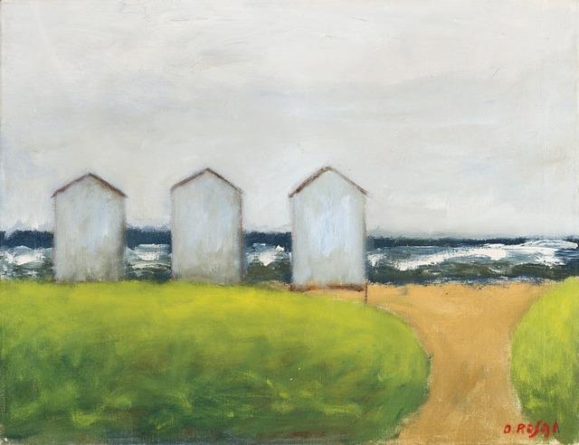 Ottone Rosai, 'Cabine sulla spiaggia', 1955 ca., Painting, Oil on canvas, Il Ponte