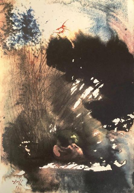 Salvador Dalí, 'Man and Woman in The garden of Pleasure, 'Vir et Mulier in Paradiso Voluptatis', Biblia Sacra', 1967, Mixed Media, Original Lithograph, Inviere Gallery