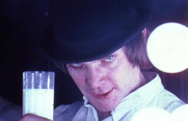 , 'A Clockwork Orange, directed by Stanley Kubrick (1970-71; GB/United States). Alex DeLarge (Malcolm McDowell) in the Korova Milkbar.,' 1970-1971, Kunstforeningen GL STRAND