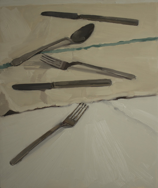 , 'Flatware on a tea-towel,' , March