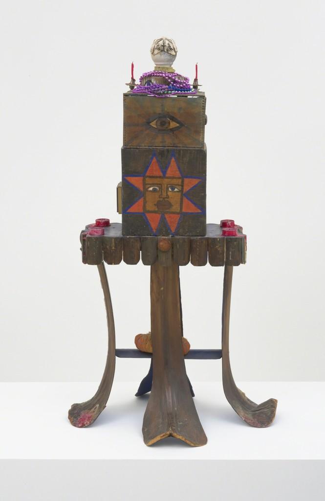 Betye Saar Mti, 1973, mixed media floor assemblage, 42.5 x 23.5 x 17.5 in (107.95 x 59.69 x 44.45 cm) verso
