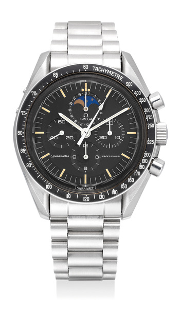 OMEGA, 'A fine and rare stainless steel chronograph wristwatch with bracelet, date, moon phases and box', 1988, Phillips