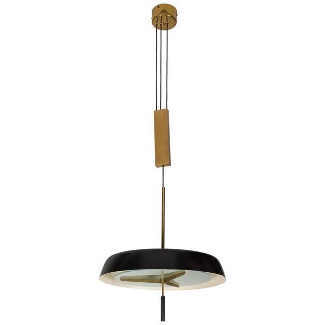 , 'Pendant Light with Brass Pulley by Stilnovo,' ca. 1960, Rewire