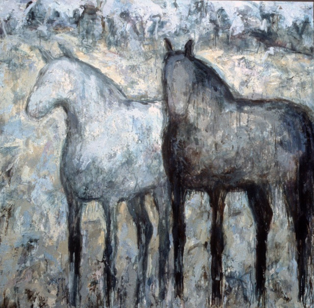 Theodore Waddell, 'Arrow Creek Horses', 1998, Painting, Oil and encaustic on canvas, Gerald Peters Gallery