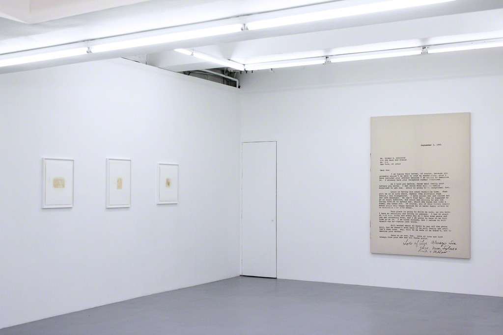 "Installation view at Harlan Levey Projects - ""September 3rd, 1991"", 2015, graphite, resin, funerary ash, on muslin, 214 x 152 cm, ""Susie and yellow"", 2015, Nicotine on paper, 51 x 41 cm, ""Magic Kingdom"", 2008, Nicotine on paper, 51 x 41 cm, ""Punk"", 2008, Nicotine on paper, 51 x 41 cm"