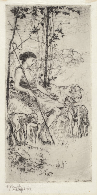 Frederick Stuart Church, 'A Pastoral', 1881, Print, Etching, National Gallery of Art, Washington, D.C.