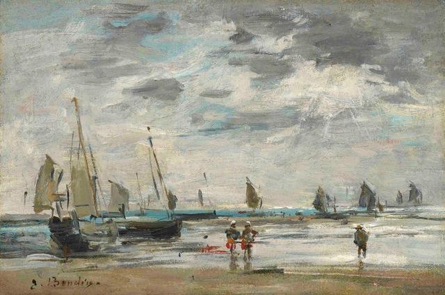 , 'Berck, jetée et voiliers à marée basse,' 1885-1890, Stoppenbach & Delestre