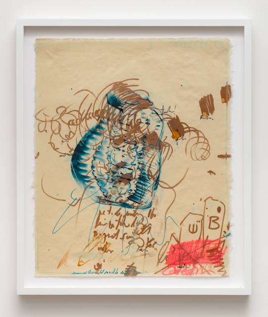 Uri Aran, 'After Doodle', 2017, Mixed Media, Silkscreen monotype with ink and graphite drawing, Independent Curators International (ICI)