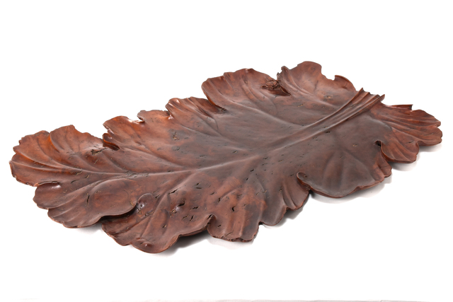 NON NAME, 'Tray in the shape of a leaf  20 0081', 1850~, Other, Wood, Yumekoubou Antique