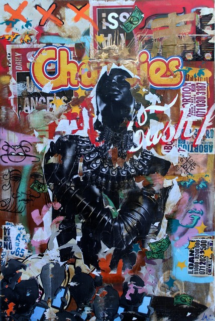 Mncedi Madolo, 'Chappies', 2020, Painting, Spray paint and collage on canvas, WORLDART