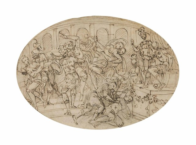 Lattanzio Gambara, 'The rape of the Sabines', Drawing, Collage or other Work on Paper, Black chalk, pen and brown ink, oval, Christie's Old Masters