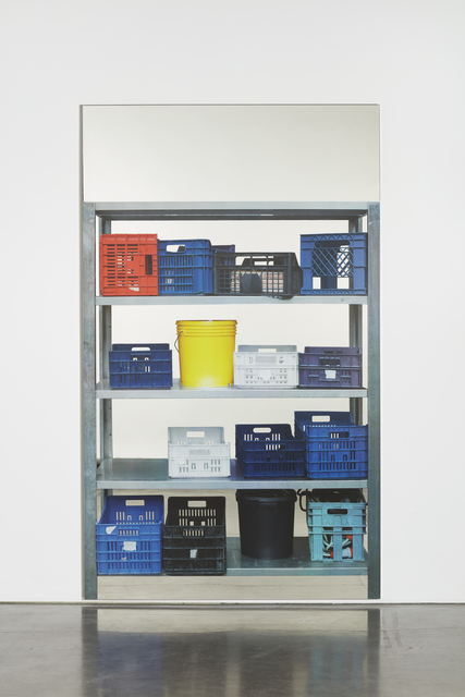 , 'Scaffali - contenitori in plastica, con secchio giallo (Shelves – plastic containers, with yellow bucket),' 2015, Simon Lee Gallery