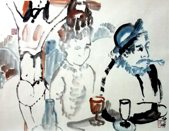, 'Gauguin Having Absinthe in Degas Pub on Easter,' , Artist's Proof