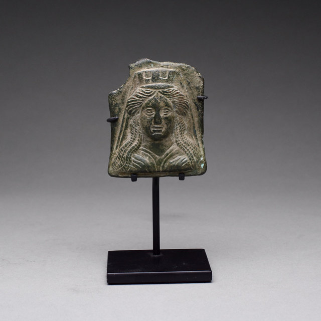 Italy, Rome, Greco-Roman Period, 'Greco-Roman Bronze Votive Plaque of the Goddess Tyche', 200 BC to 300 AD, Barakat Gallery