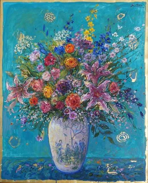 , 'Bouquet on Turquoise Ground,' 2018, Galerie d'Orsay