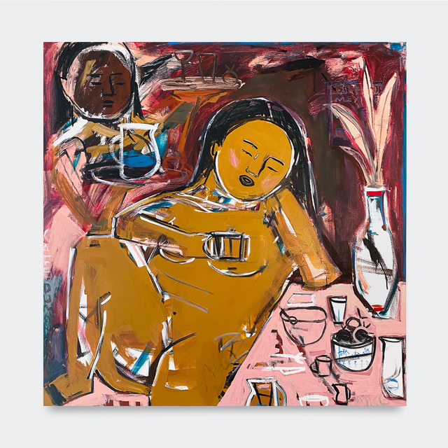 Monica Kim Garza, 'Café du Moniqa', 2018, Painting, Acrylic, oil pastel and felt on canvas, V1 Gallery