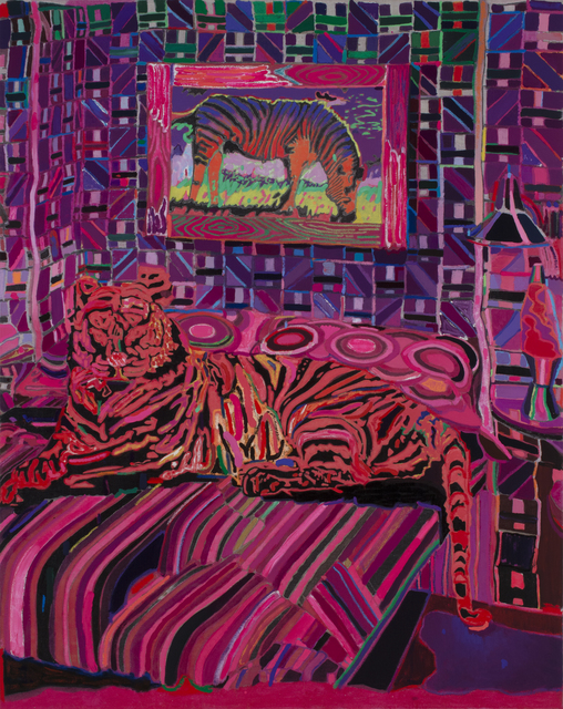 Leon Benn, 'Tiger in the Bedroom', 2019, Painting, Oil, oil pastel, acrylic, and fabric dyes on Moroccan linen, David B. Smith Gallery